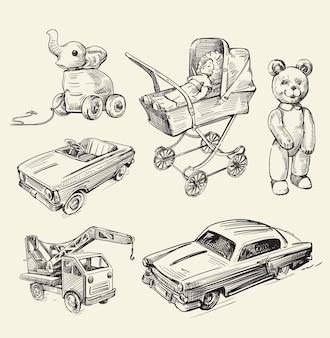 Zestaw szkiców retro zabawek stary czas