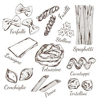 Zestaw szkiców rodzajów makaronu