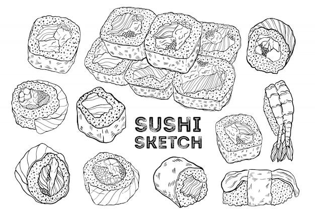 Zestaw szkiców rolki sushi. rysunek kuchni japońskiej.