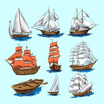 Zestaw szkiców statków i łodzi