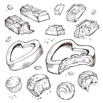 Zestaw szkiców ugryzionych czekoladek. słodkie bułeczki, batony, glazura, ziarna kakaowe. pojedyncze obiekty na białym