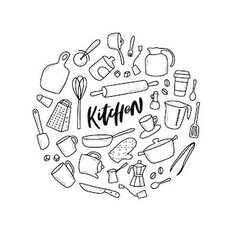Zestaw szkicowanych doodli kuchennych