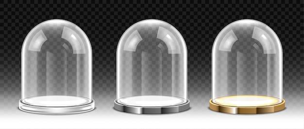 Zestaw szklanej kopuły na przezroczystym tle. realistyczna, szczegółowa kulista szklana kopuła