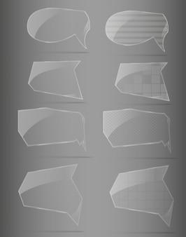 Zestaw szklanej ramy. ilustracji wektorowych.