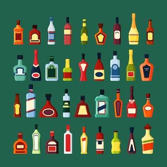 Zestaw szklanych butelek alkoholu