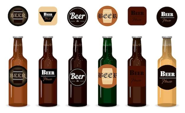Zestaw szklanych butelek piwa wektor pojedyncze butelki z różnymi rodzajami gatunków i firm piwa