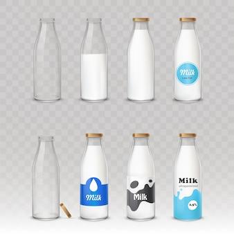 Zestaw szklanych butelek z mlekiem z różnymi etykietami.
