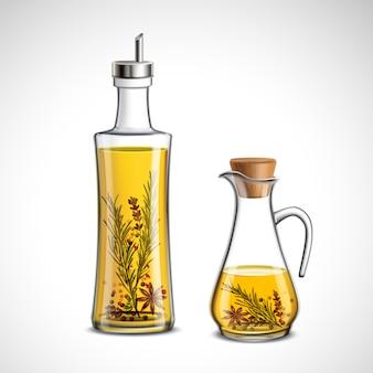 Zestaw szklanych butelek