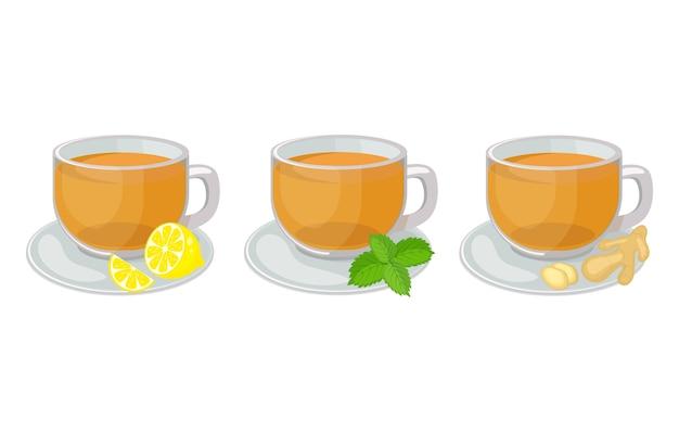 Zestaw szklanych filiżanek ze spodkami z herbatą ziołową w środku i plasterkiem cytryny, miętą, imbirem ilustracja na białym tle. gorąca herbata ziołowa