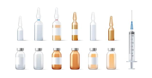 Zestaw szklanych fiolek szablonu i ampułek na leki i opakowanie szczepionki na białym tle.