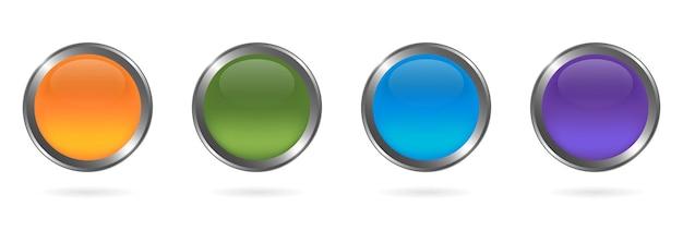 Zestaw szklanych kolorowych okrągłych guzików ze srebrną ramką