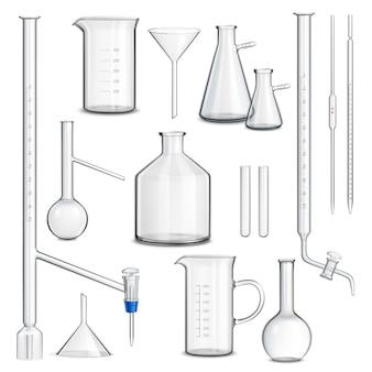 Zestaw szklanych naczyń laboratoryjnych