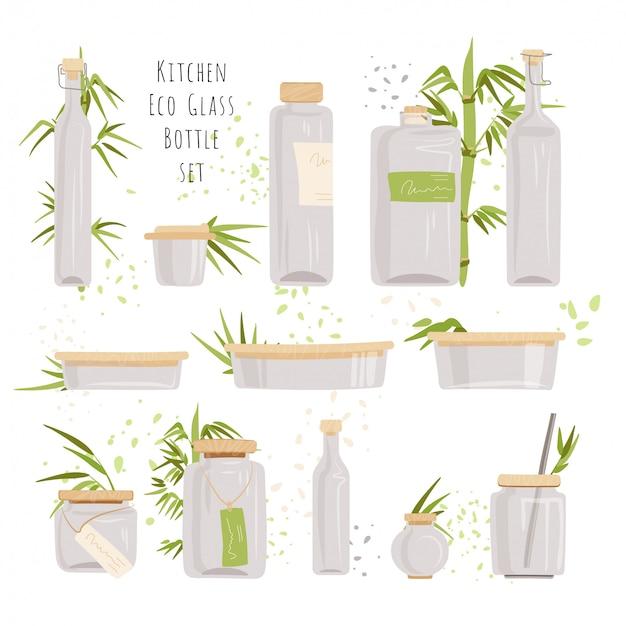 Zestaw szklanych prostokątnych szklanych pojemników - pojemniki do przechowywania żywności z ekologicznymi pokrywkami bambusowymi, butelki bez plastiku z bambusowymi blatami, małe kanistry kuchenne i słoiki.