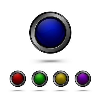 Zestaw szklanych przycisków w kolorze czerwonym, żółtym, niebieskim, zielonym i fioletowym