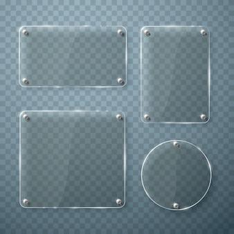 Zestaw szklanych ramek na przezroczystym tle. ilustracja wektorowa