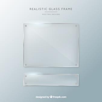 Zestaw szklanych ramek w realistycznym stylu