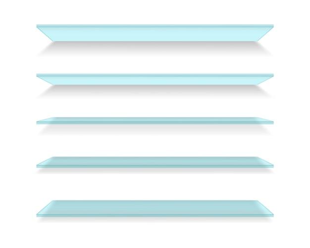 Zestaw szklanych realistycznych półek. witryny ścienne.