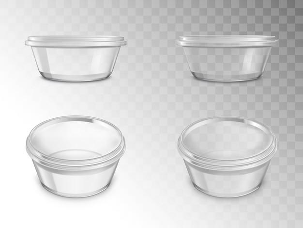 Zestaw szklanych słoików, puste otwarte pojemniki do konserw
