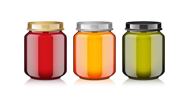 Zestaw szklanych słoików z białą etykietą na realistyczny szablon makiety na miód, dżem, galaretkę lub puree z żywności dla niemowląt