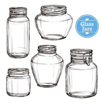 Zestaw szklanych słoików