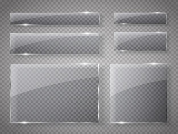 Zestaw szklanych talerzy. szklane banery na przezroczystym.