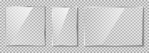Zestaw szklanych talerzy. szkło na przezroczystym tle ilustracji