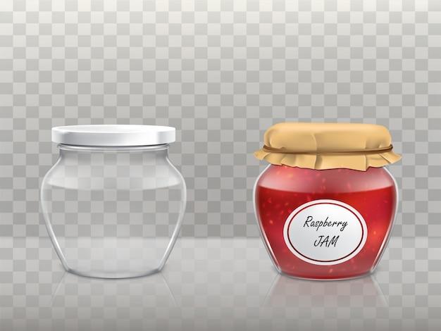 Zestaw szklanych wymyślonych słoików