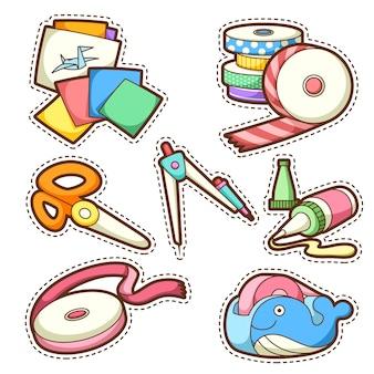 Zestaw szkolny. zestaw różnych przedmiotów szkolnych, ilustracji.