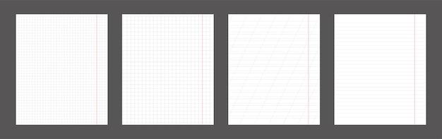 Zestaw szkolnych arkuszy papieru pionowego zeszytu.