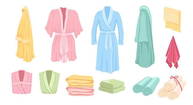 Zestaw szlafroków, akcesoria łazienkowe ręczniki, wiszące i składane kolekcja narzędzi do higieny osobistej na co dzień. kolorowe ściereczki tekstylne do suszenia po praniu. ilustracja wektorowa, elementy