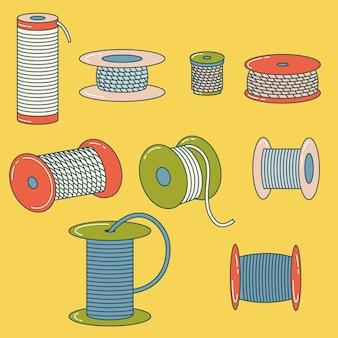 Zestaw szpul drutu nici szpula ze stopu liny cewka zarys rysunku styl płaski