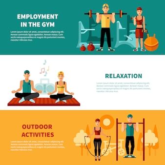 Zestaw sztandarów poziome fitness