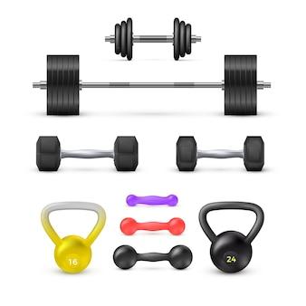 Zestaw sztangi z hantlami i ciężarkami. sprzęt fitness i kulturystyczny. elementy wektorowe