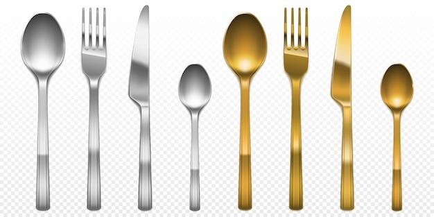 Zestaw sztućców 3d w kolorze złotym i srebrnym widelec, nóż i łyżka. sztućce i złote naczynie, widok z góry luksusowe metalowe naczynia cateringowe na przezroczystym tle, realistyczna ilustracja