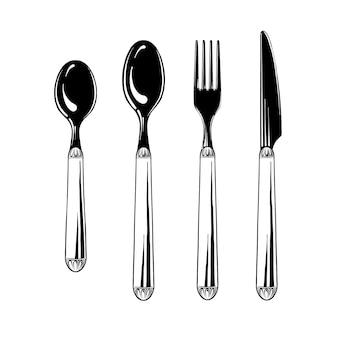 Zestaw sztućców łyżeczka, łyżka, widelec i nóż w kolorze czarnym na białym tle. zastawa stołowa, widok z góry. ilustracji wektorowych
