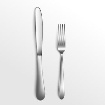 Zestaw sztućców srebrny widelec i nóż widok z góry 3d ilustracja na białym tle