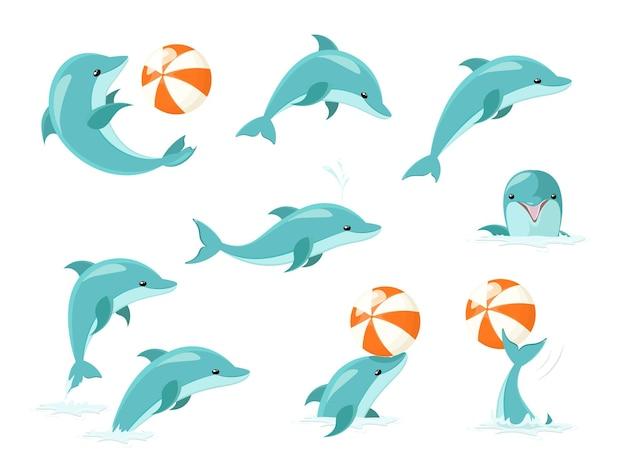 Zestaw sztuczek delfinów butlonosych. zestaw ładny niebieski delfiny, skoki delfinów