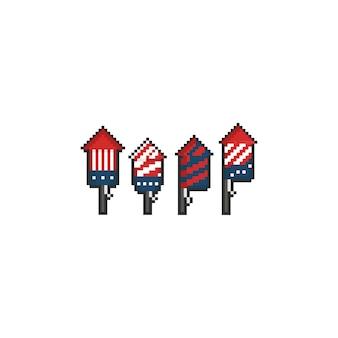 Zestaw sztucznych ogni z rakietą pikseli. 8 bitowy. dzień niepodległości stanów zjednoczonych.