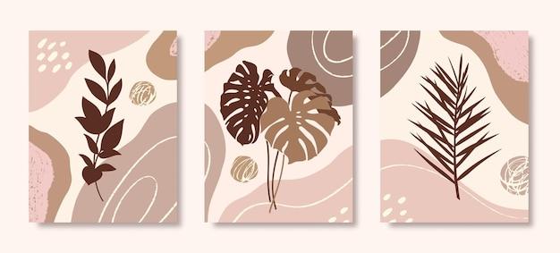 Zestaw sztuki botanicznej z tropikalnymi liśćmi, gałęziami i organicznymi kształtami w minimalistycznym modnym stylu. streszczenie ilustracji wektorowych w pastelowych kolorach do druku, okładki, tapety, plakatów, historii mediów społecznościowych