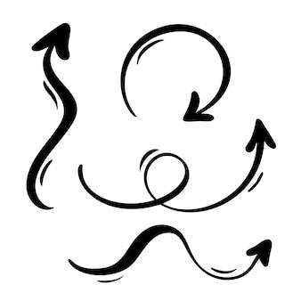 Zestaw sztuki kaligrafii rozkwitać vintage dekoracyjne strzałki