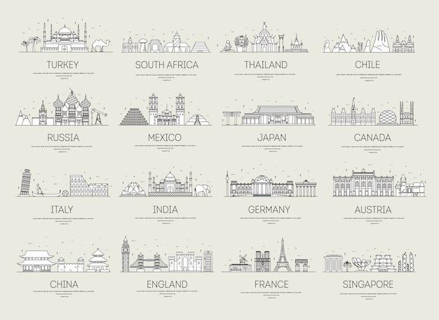 Zestaw sztuki ozdobnych podróży i architektury.