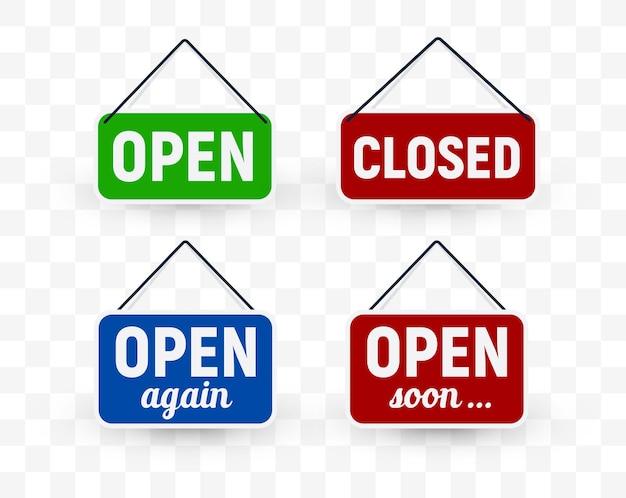 Zestaw szyldów na drzwi z informacją o otwieraniu lub zamykaniu.