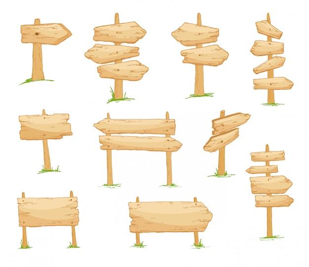 Zestaw szyldów. puste deski drewniane znak o różnych kształtach i rozmiarach. styl kreskówki