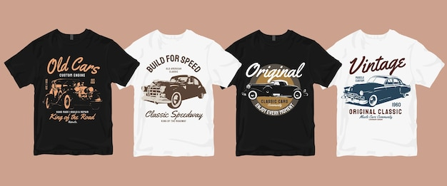 Zestaw t-shirt vintage old cars
