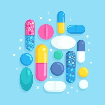 Zestaw tabletek, lekarstw, leków. tabletka przeciwbólowa, witamina, antybiotyki farmaceutyczne. koncepcja opieki zdrowotnej. kreskówka