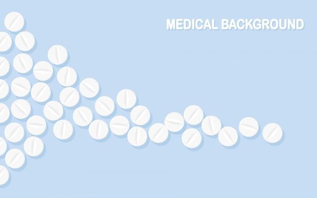 Zestaw tabletek, lekarstw, leków. tabletka przeciwbólowa, witamina, antybiotyki farmaceutyczne. wykształcenie medyczne. projekt kreskówki