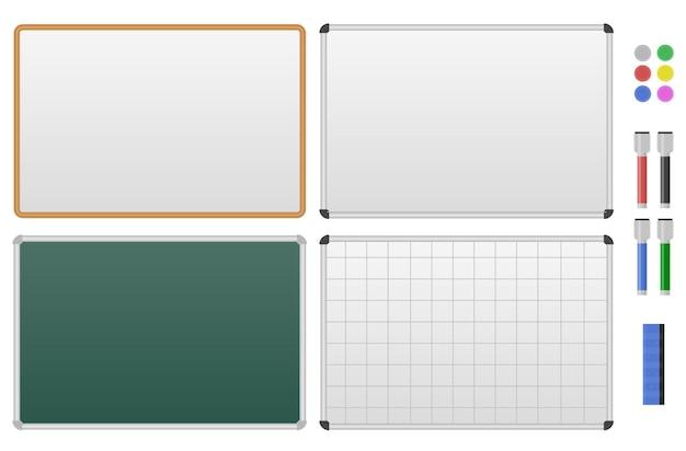 Zestaw tablic magnetycznych. pusta biało-zielona tablica do rysowania, prezentacji, listy rzeczy do zrobienia. na białym tle. ilustracja wektorowa.