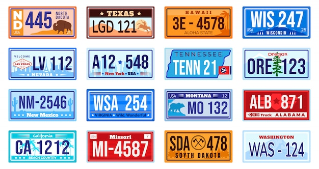 Zestaw tablic rejestracyjnych samochodu amerykańskiego.