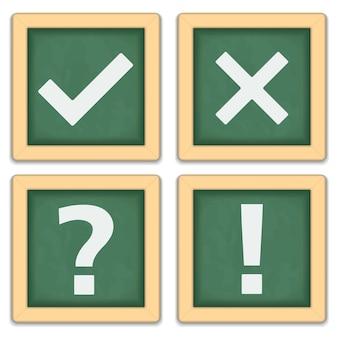 Zestaw tablic z różnymi symbolami, ilustracja