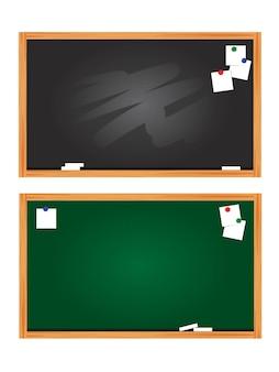 Zestaw tablica i drewniana rama. opróżnij z zadrapaniami czarna tablica. ilustracja